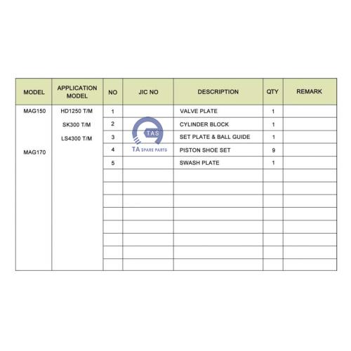 Ruột bơm JIC MAG150 / 170