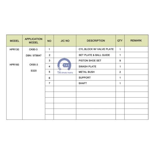Ruột bơm JIC HPR130 / HPR160